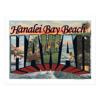 Carte Postale Plage de baie de Hanalei, Hawaï - grandes scènes