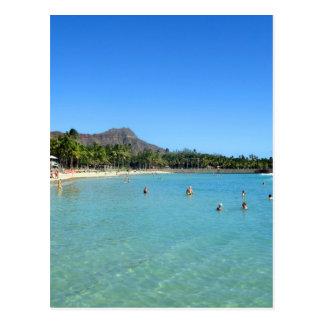 Carte Postale Plage de Waikiki et cratère principal de diamant,