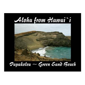 Carte Postale Plage verte de sable d'Hawaï