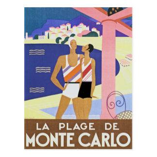 Carte Postale Plage vintage de Monte Carlo