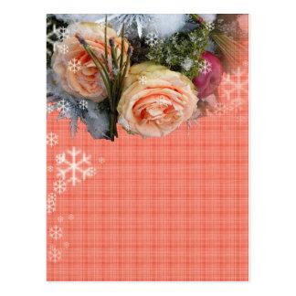 Carte Postale Plaid de roses de pêche de Joyeux Noël
