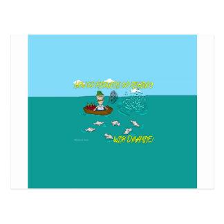 Carte Postale Plaisanterie de pêche avec de la dynamite