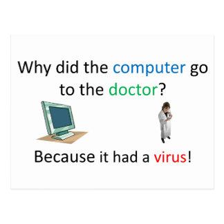 Carte Postale Plaisanterie de virus informatique