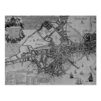 Carte Postale Plan de Boston, Nouvelle Angleterre, 1739