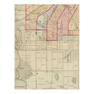 Carte Postale Plan de la ville de Minneapolis et de proximité
