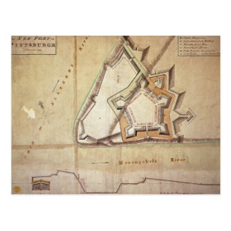 Carte Postale Plan du nouveau fort à Pittsburgh