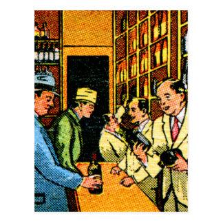 Carte Postale Pochette d'allumettes vintage de magasin de vins