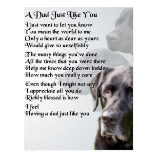 Carte Postale Poème noir de papa de Labrador