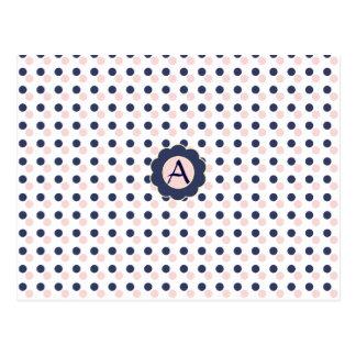 Carte Postale Point de polka rose et bleu