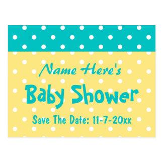 Carte Postale Point de polka turquoise et jaune, baby shower