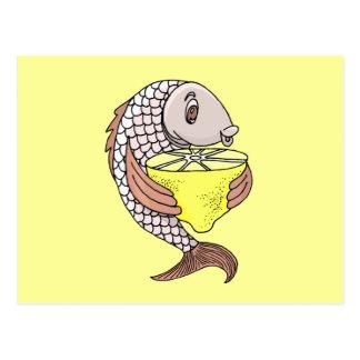 Carte Postale Poissons avec le citron