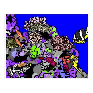 Carte Postale Poissons de récif coralien