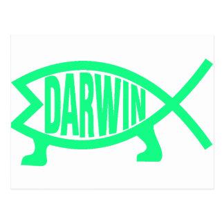 Carte Postale Poissons originaux de Darwin (Seafoam)