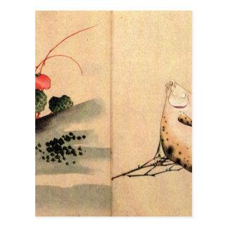 Carte Postale Poissons plats et rose par Katsushika Hokusai