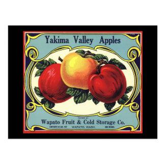 Carte Postale Pommes vintages de vallée de Yakima d'art