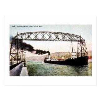 Carte Postale Pont et canal aériens, Duluth, Minnesota