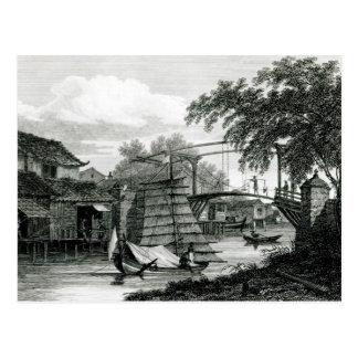 Carte Postale Pont-levis chez le Malacca, gravé par George Cooke