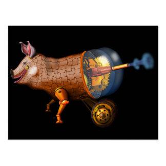 Carte Postale porc de steampunk