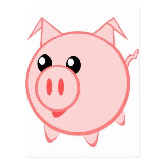 Carte Postale Porc heureux de bande dessinée