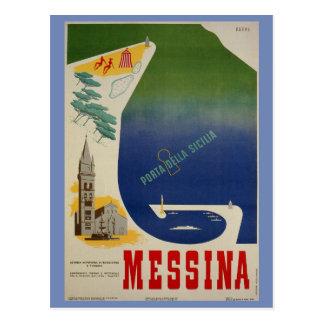 Carte Postale Port de Messine d'annonce italienne vintage de
