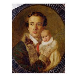 Carte Postale Portrait d'Alexandre Herzen avec son fils, 1840
