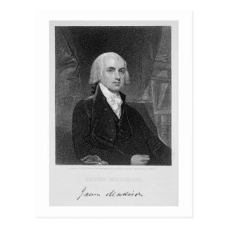 Carte Postale Portrait de James Madison, gravé par William A.