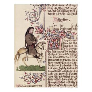 Carte Postale Portrait de télécopie de Geoffrey Chaucer de