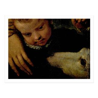 Carte Postale Portrait d'une femme avec un enfant et un chien,