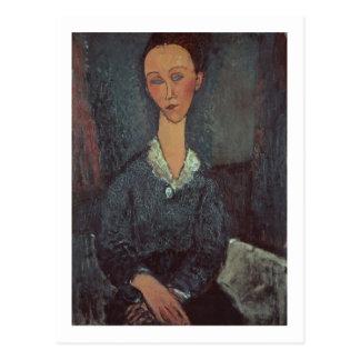 Carte Postale Portrait d'une femme avec un intellectuel (huile