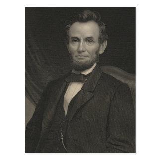 Carte Postale Portrait gravure à l'eau-forte d'Abraham Lincoln