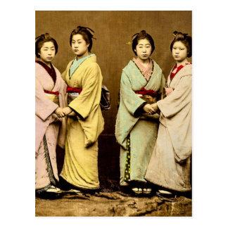 Carte Postale Portrait vintage quatre du geisha vieux Japon