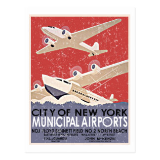 Carte Postale Poster vintage d'aéroports de NY - c 1930 -