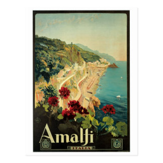 Carte Postale Poster vintage d'Amalfi, Italie