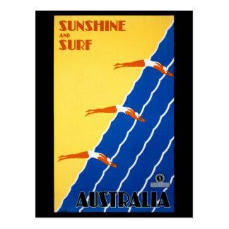 Carte Postale Poster vintage de l'Australie reconstitué