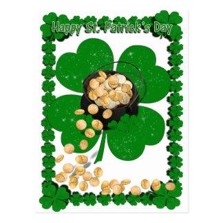 Carte Postale Pot d'or w/Clover vue pour le jour de St Patrick