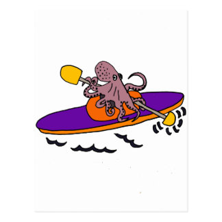Carte Postale Poulpe pourpre drôle Kayaking
