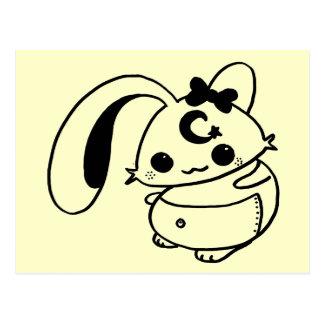 Carte Postale poupée de kawaii de lapin