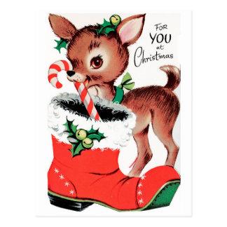 Carte Postale Pour vous au renne de Noël