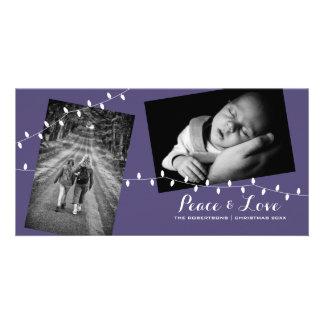 Carte postale pourpre de photo de Noël - amour