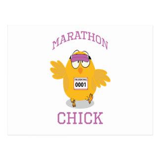 Carte Postale Poussin drôle de marathon