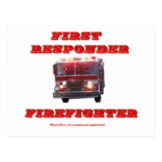 Carte Postale Premier sapeur-pompier de répondeur