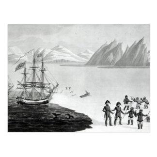 Carte Postale Première communication avec les indigènes du
