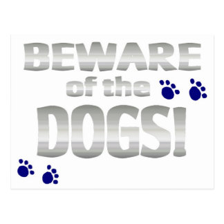 Carte Postale Prenez garde des chiens ! avec les empreintes de
