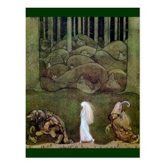 Carte Postale Princesse et promenade de trolls par la forêt