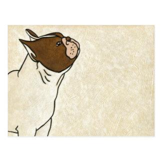 Carte Postale Profil de bouledogue français recherchant