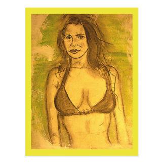 Carte Postale promenade de fille de bikini