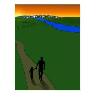 Carte Postale Promenade de soirée de père et d'enfant
