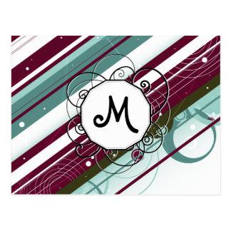 Carte Postale Prune et Moderne-Rétros rayures turquoises avec le