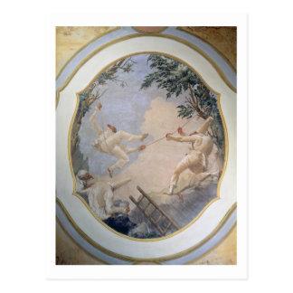 Carte Postale Pulcinella sur une oscillation, 1797 (fresque)