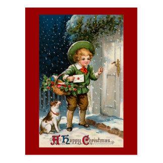 """Carte Postale """"Quiconque à la maison ?"""" Noël vintage"""